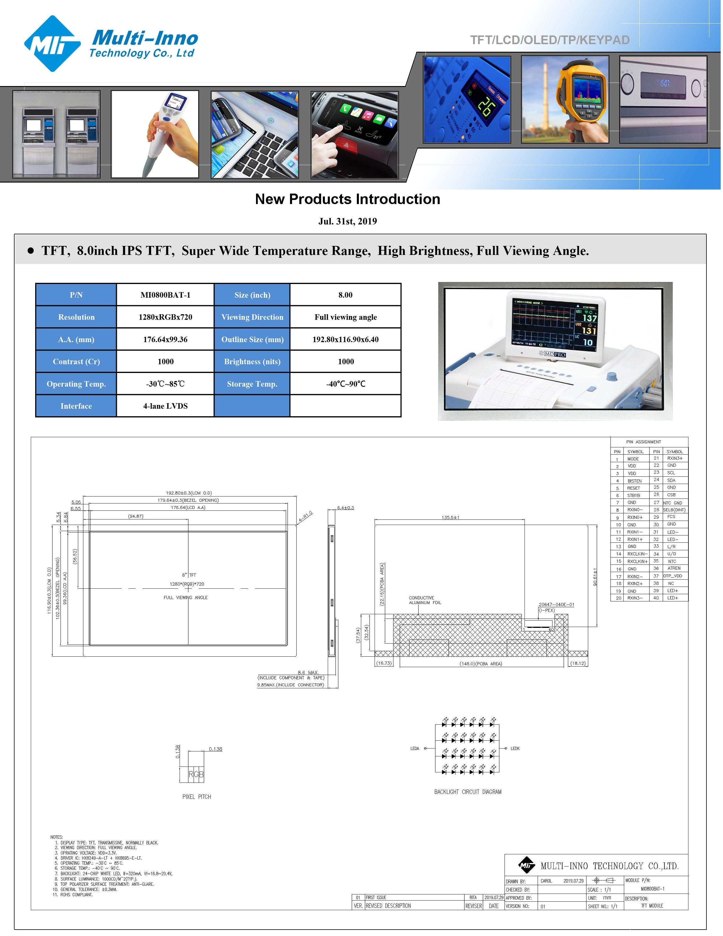 Ny 8inch TFT med 1000 nits, IPS och brett temperaturområde